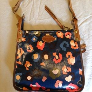 Fossil Key Per canvas and leather shoulder bag